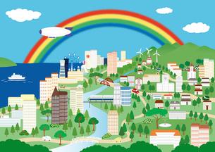 虹が架かる街 イラストのイラスト素材 [FYI04063786]