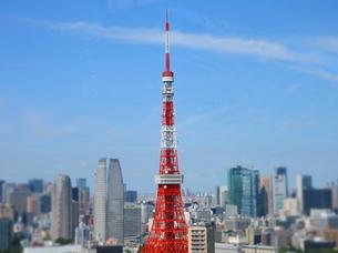 麻布十番からの東京タワーセンター位置の写真素材 [FYI04063954]
