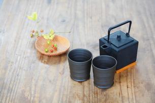 急須と湯飲茶碗とガマズミの写真素材 [FYI04066121]