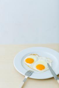 目玉焼きとナイフとフォークの写真素材 [FYI04066696]