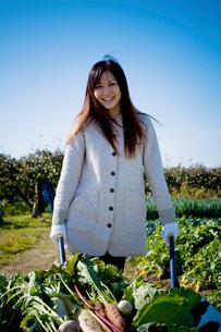 一輪車で収穫した野菜を運ぶ20代の女性の写真素材 [FYI04066885]