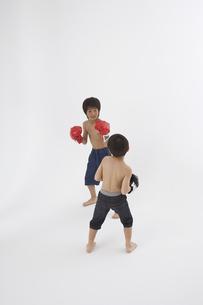 ボクシングをする男の子2人の写真素材 [FYI04067306]