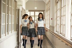 校舎の廊下を歩く3人の女子学生の写真素材 [FYI04067838]