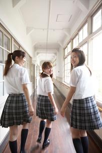 廊下を歩く女子学生の後ろ姿の写真素材 [FYI04067841]