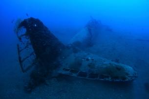 海底に沈むゼロ戦,海中の写真素材 [FYI04068172]