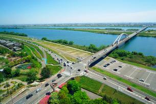 木曽三川公園センター・展望タワーより油島集落(左)と長良川の写真素材 [FYI04068474]