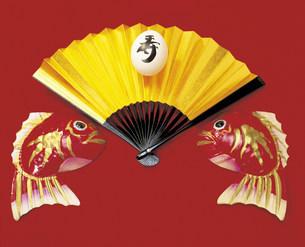 金扇子と鯛の写真素材 [FYI04068891]