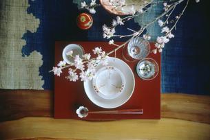 春のテーブルセットの写真素材 [FYI04069544]