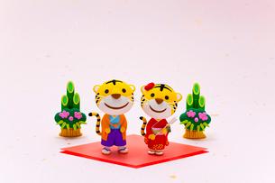 トラの男の子と女の子と門松の写真素材 [FYI04069687]