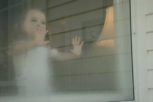 曇り窓から外を眺める女の子の写真素材 [FYI04070559]