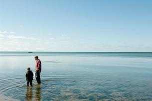 網で魚捕りをする父と息子の写真素材 [FYI04070692]