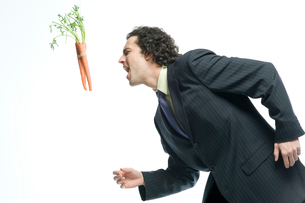 人参に食いつこうとするビジネスマンの写真素材 [FYI04070932]