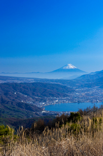 諏訪湖と富士山の写真素材 [FYI04071468]