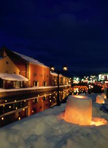 小樽運河夕景の写真素材 [FYI04072583]