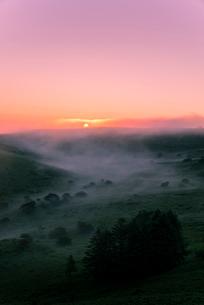 車山肩よりご来光と霧ヶ峰高原車山湿原朝焼けの空と朝霧の写真素材 [FYI04072821]