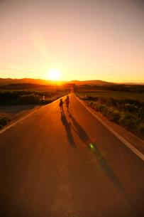 夕暮れの道を歩いて帰る兄妹の写真素材 [FYI04073669]