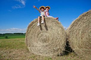 大きな干し草ロールの上の兄妹の写真素材 [FYI04073681]