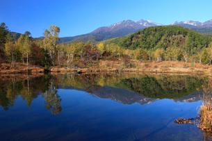 紅葉のまいめの池と乗鞍岳の写真素材 [FYI04073733]