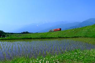 水田と小海線と甲斐駒ケ岳の写真素材 [FYI04074138]