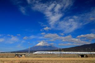 新幹線と富士山の写真素材 [FYI04074188]