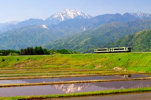 小海線と甲斐駒ケ岳の写真素材 [FYI04074234]