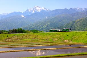 小海線リゾートビュー八ヶ岳と甲斐駒ケ岳の写真素材 [FYI04074243]