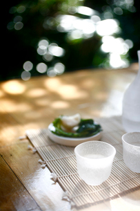 縁側に置かれた日本酒とおつまみの写真素材 [FYI04076656]