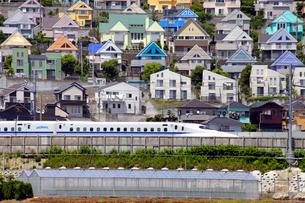 日向岡住宅地を通過する東海道新幹線の写真素材 [FYI04077408]