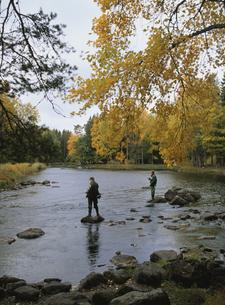 秋の釣り人の写真素材 [FYI04077490]