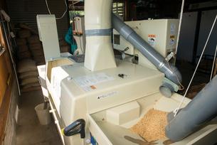 籾摺り 籾摺り機作業の写真素材 [FYI04077545]