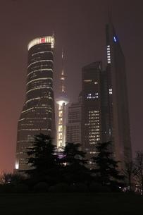上海陸家中心緑地から望む浦東の高層ビルの夜景の写真素材 [FYI04077904]