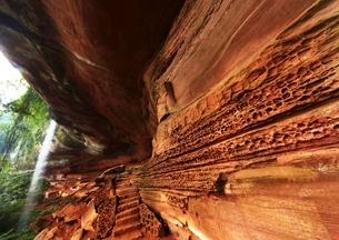 赤水丹霞の紅石谷の写真素材 [FYI04077926]