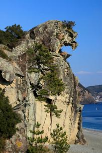獅子巌 海食地形の一例の写真素材 [FYI04078343]