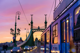 自由橋とトラムと夕焼けの写真素材 [FYI04078515]