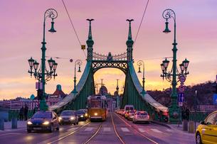 自由橋とトラムと夕焼けの写真素材 [FYI04078519]