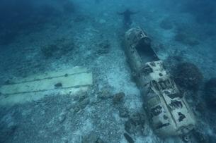 海底に沈むゼロ戦の残骸の写真素材 [FYI04078894]