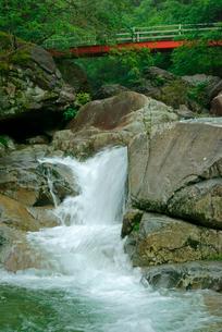 片知渓谷(かたぢけいこく) 千畳岩から上流の岳水橋を望むの写真素材 [FYI04079136]