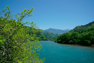 王滝川,木曽川支流より駒ケ岳を望むの写真素材 [FYI04079269]