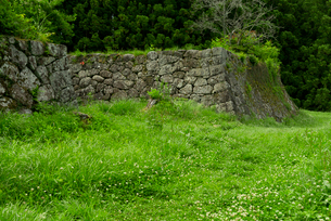 岩村城 本丸北東の石垣 東曲輪 長局 より見るの写真素材 [FYI04079532]