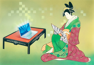 浮世絵風パソコンと着物女性のイラスト素材 [FYI04079639]