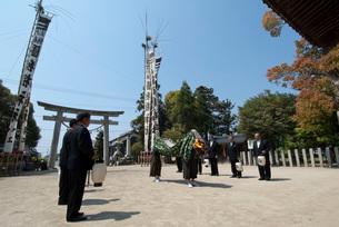 国狭槌神社の春祭りの天狗の舞の写真素材 [FYI04080721]
