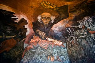ミゲル・イダルゴの肖像壁画の写真素材 [FYI04081880]