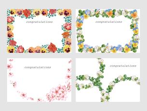 花のポストカードセットのイラスト素材 [FYI04083914]
