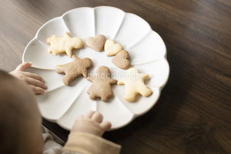 赤ちゃんとクッキーの写真素材 [FYI04084436]