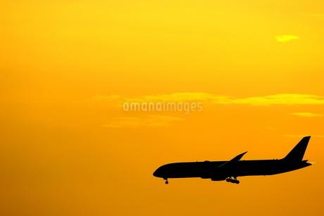 夕焼けの中の着陸機の写真素材 [FYI04084691]