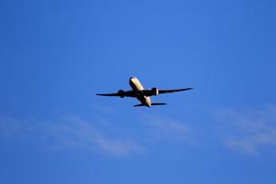 青空の離陸機の写真素材 [FYI04084790]