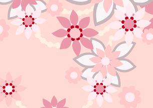 ピンク色の花の背景イラスト2横(線画無し)のイラスト素材 [FYI04084912]
