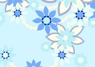 青色の花の背景イラスト2横(線画無し)のイラスト素材 [FYI04084922]