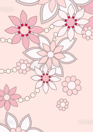 ピンク色の花の背景イラスト1縦のイラスト素材 [FYI04084927]
