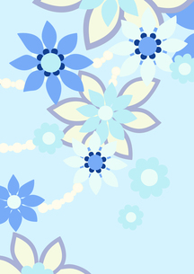 青色の花の背景イラスト2縦(線画無し)のイラスト素材 [FYI04084936]